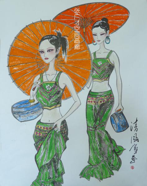 张广才教授三幅作品参加江苏教育学院建院60周年美术作品展_图1-3