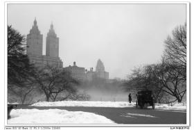 【盲流摄影】唯美-雾中的马车(黑白)