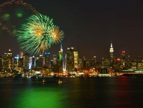 走-拍 从新泽西看曼哈顿42街夜景,。