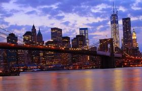 一组《Brooklyn桥夜景灯影》