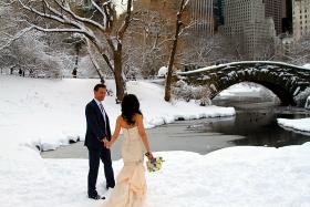 抓拍~雪中婚纱白色浪漫!