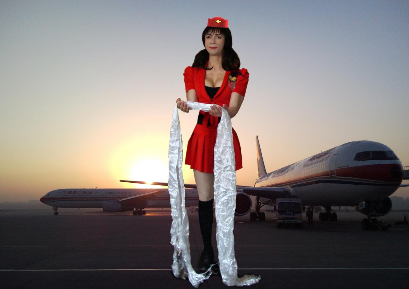 制服的诱惑-胸肌哥空姐服秀半球形聚拢性感美胸_图1-4