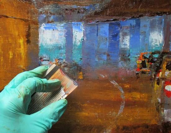 美艺术家将信用卡当画笔绘出美丽风景画