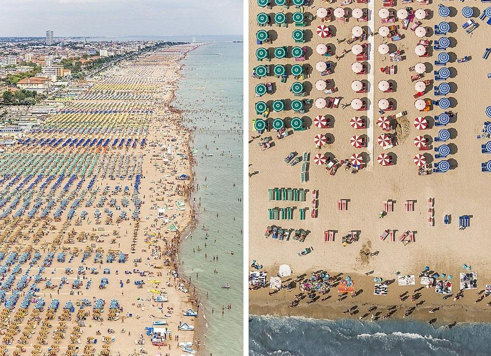 德国摄影师航拍沙滩伞图 五彩缤纷景象壮观_图1-3