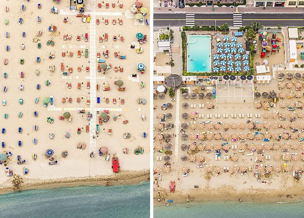 德国摄影师航拍沙滩伞图 五彩缤纷景象壮观_图1-8
