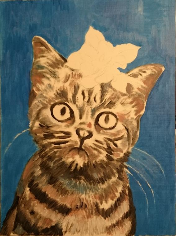 【邝幸油画】小花貓在Canvas Paper上顯現_图1-3