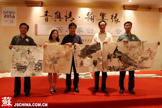 张广才教授参加江苏名画家喜迎青奥 挥毫创作笔会_图1-2