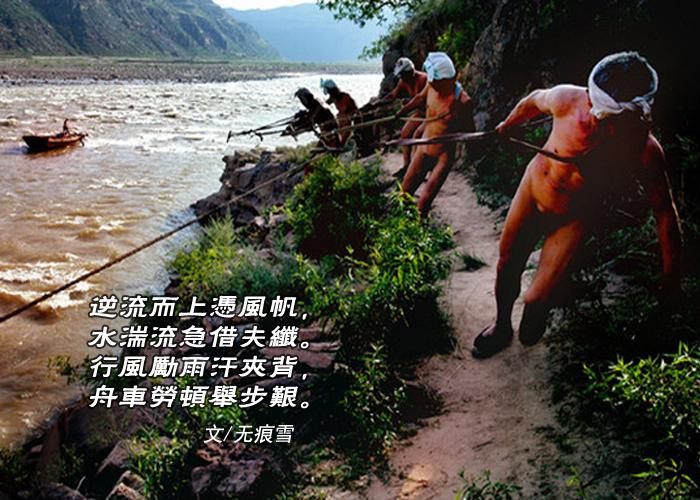 【弦逸筝情】纤夫图.和石-头,岩云野鹤,无痕雪_图1-2