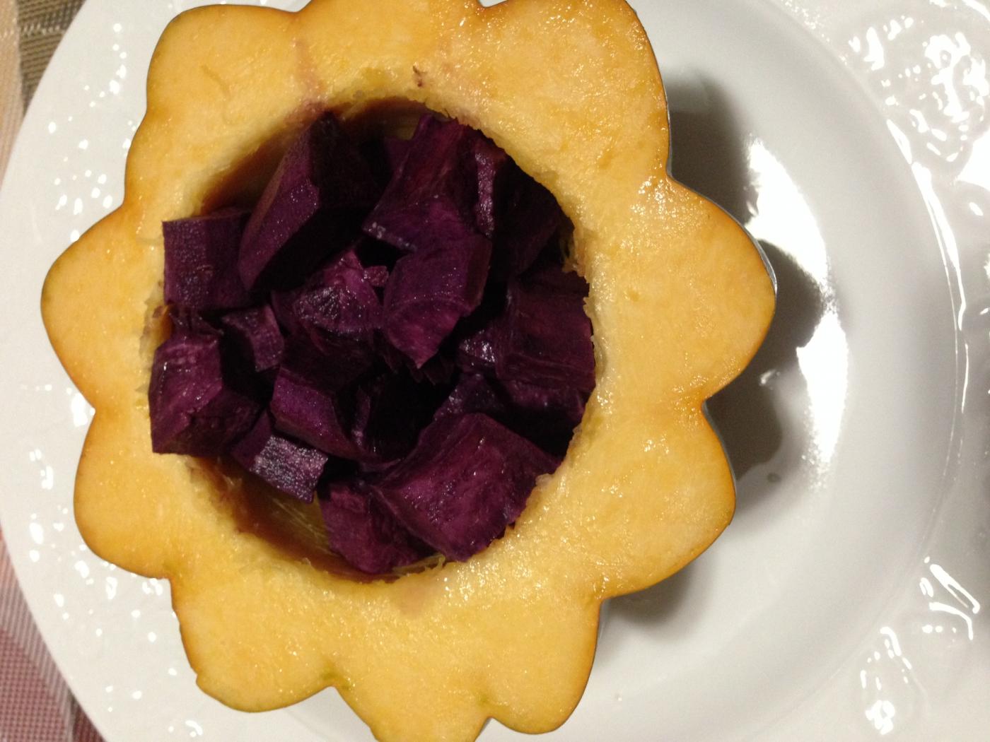 向日葵花儿开---紫薯南瓜盅_图1-3