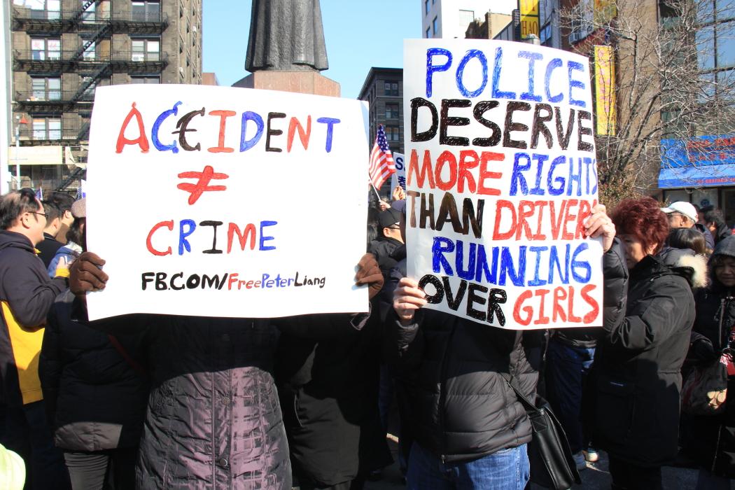 纽约举行支持声援梁警官的游行_图2-19