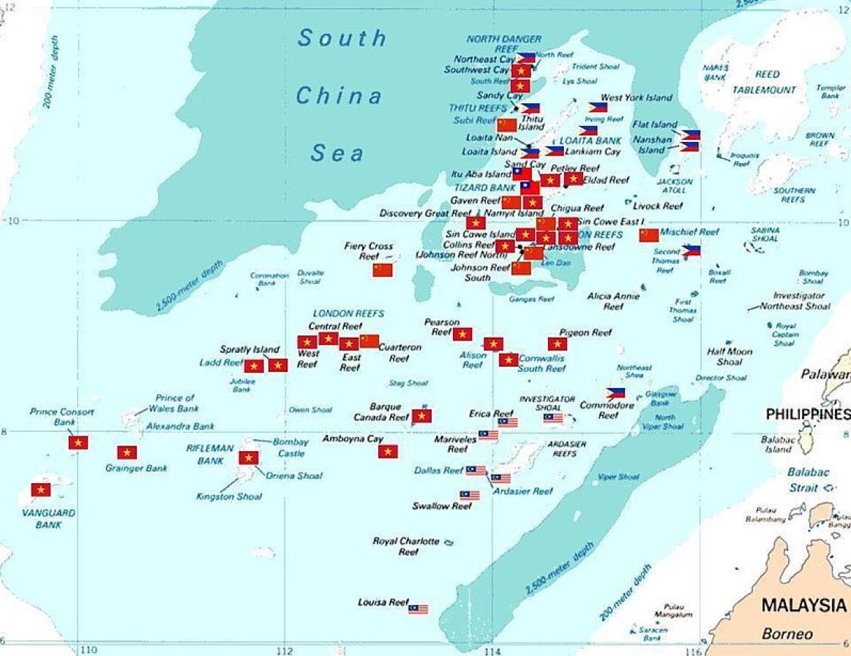 南海被占岛礁分布图