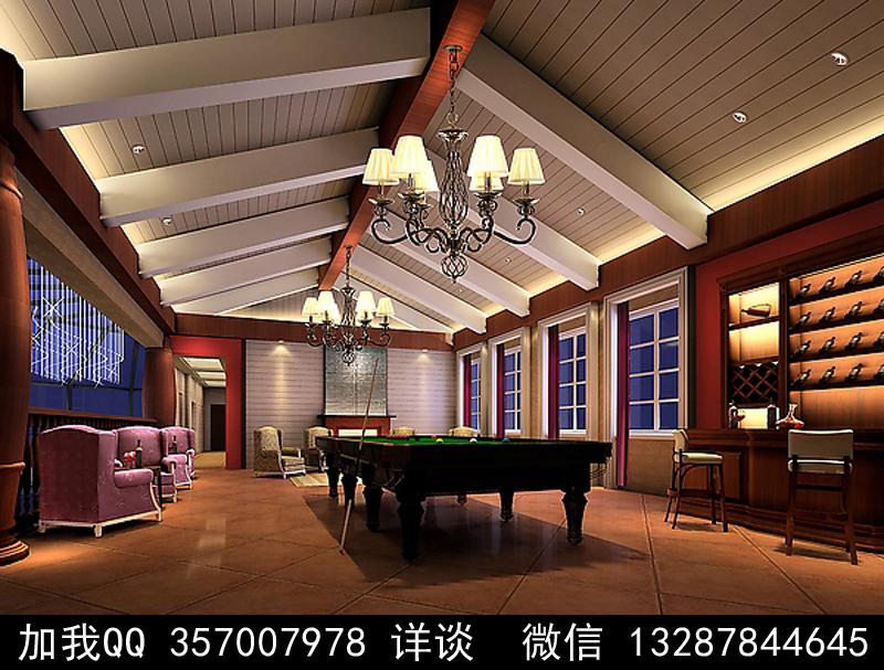 台球厅设计案例效果图_图1-15