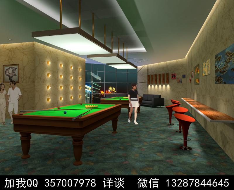 台球厅设计案例效果图_图1-2