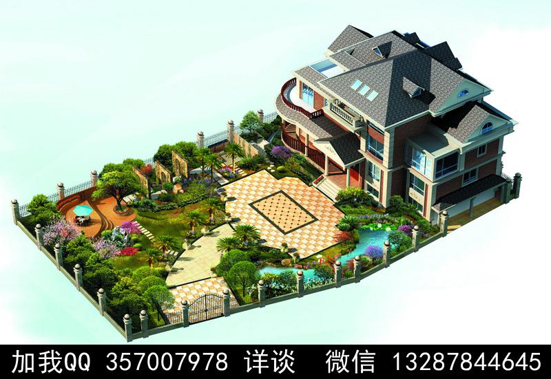 别墅院子设计案例效果图_图1-43