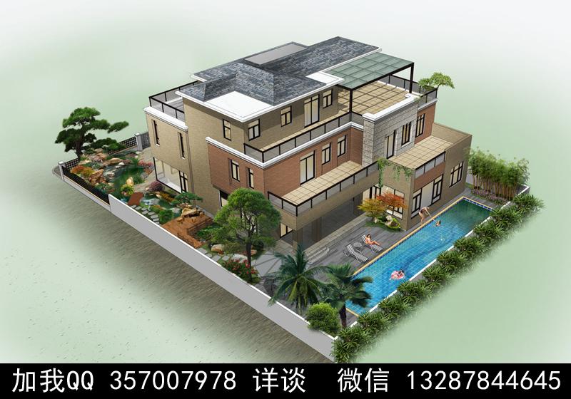 别墅院子设计案例效果图_图1-29