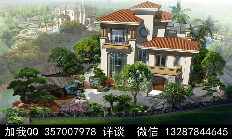 别墅院子设计案例效果图_图1-25
