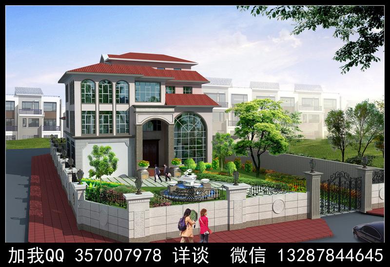 别墅院子设计案例效果图_图1-23