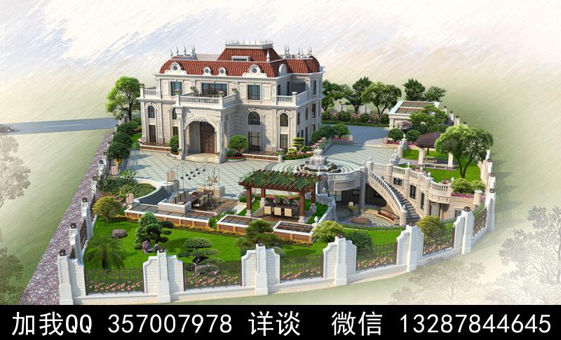 别墅院子设计案例效果图_图1-2