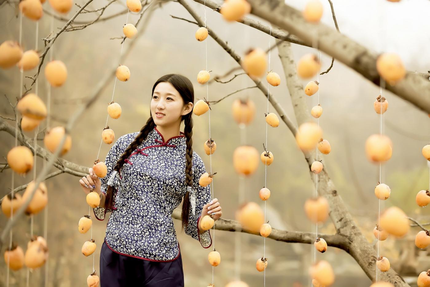 煎饼mm刘晓旭来到蒙山人家柿子节客串柿子西施_图1-10