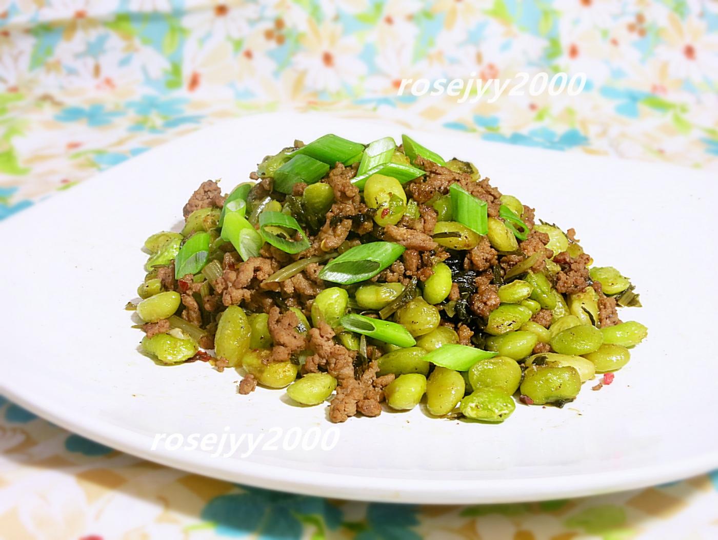 雪菜利马豆炒牛肉末_图1-1