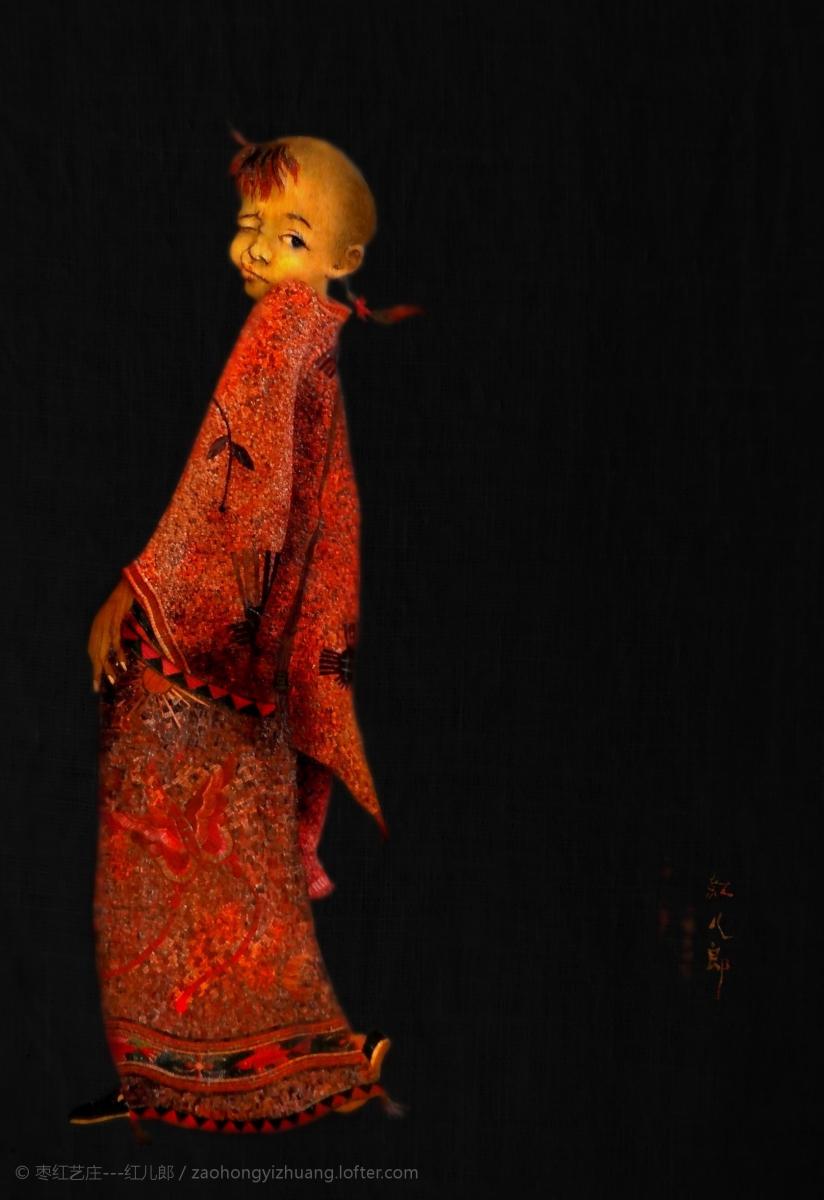 《红儿郎的童年》  红儿郎为自己的童年造像    【稻草画】_图1-1