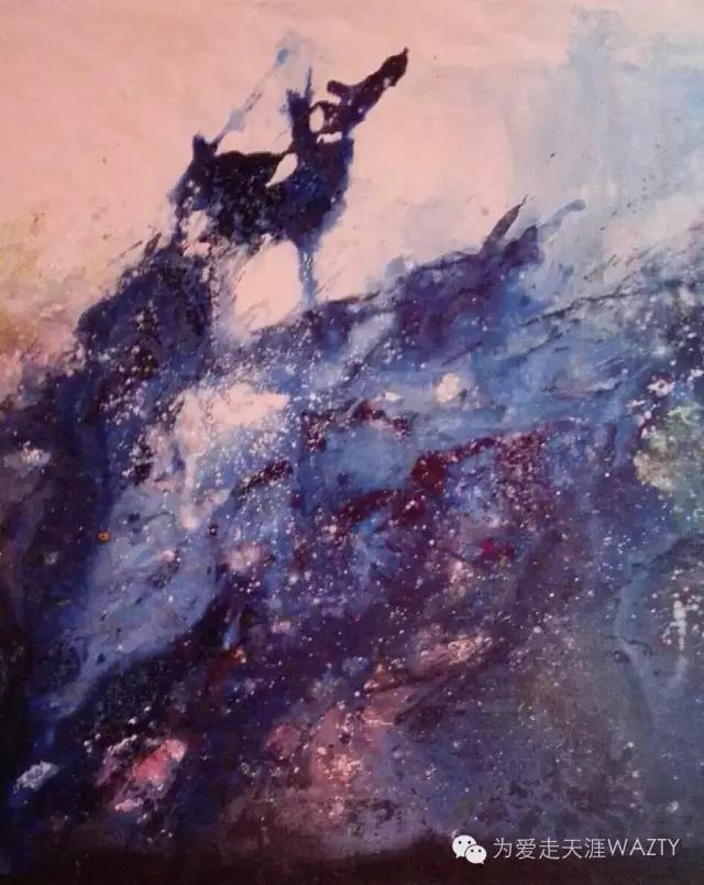 陈沫抽象油画《追月》_图1-1