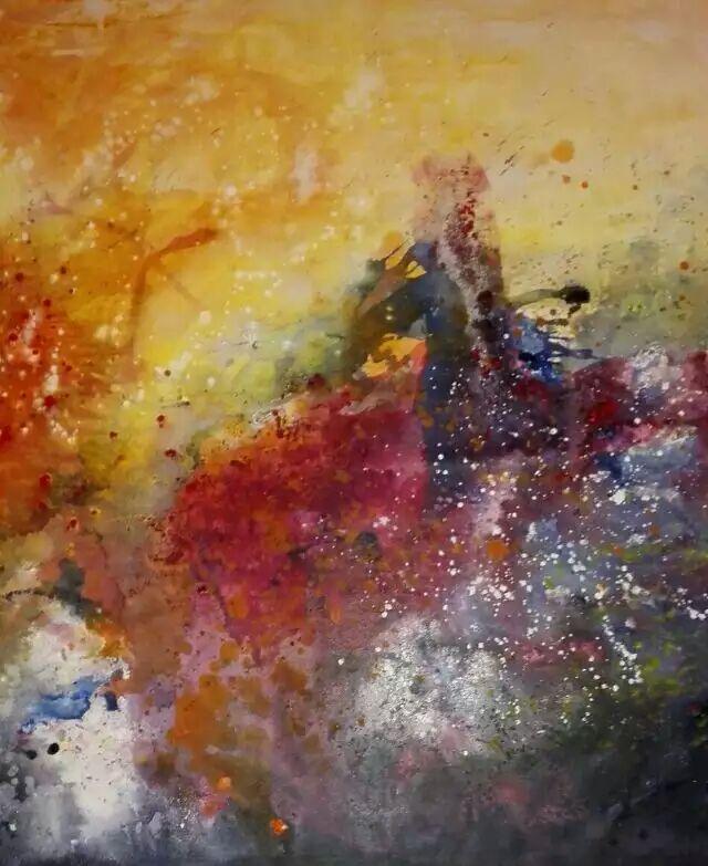 陈沬抽象油画《草源红》_图1-1