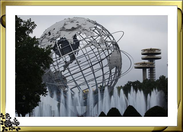 法拉盛可乐娜公园地球仪喷水池风光_图1-2