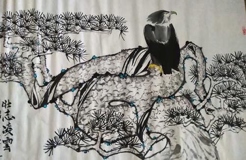 艺术家张炳瑞香水墨作品《壮志凌雲》并赋诗一首_图1-1