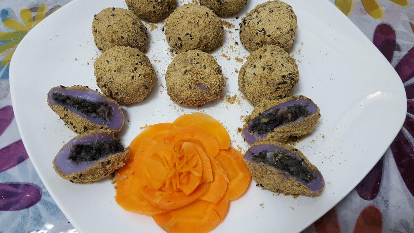 [田螺随拍]分享我做的紫汤圆、糯米糍_图1-2