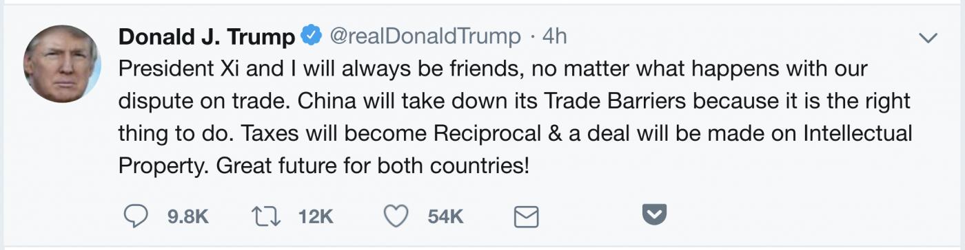 特朗普发推称:中、美两国大有前途!_图1-1