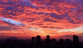 金华上空壮观美丽的火烧云