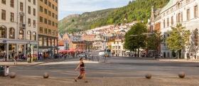 挪威卑尔根市(Bergen),热闹的市中心