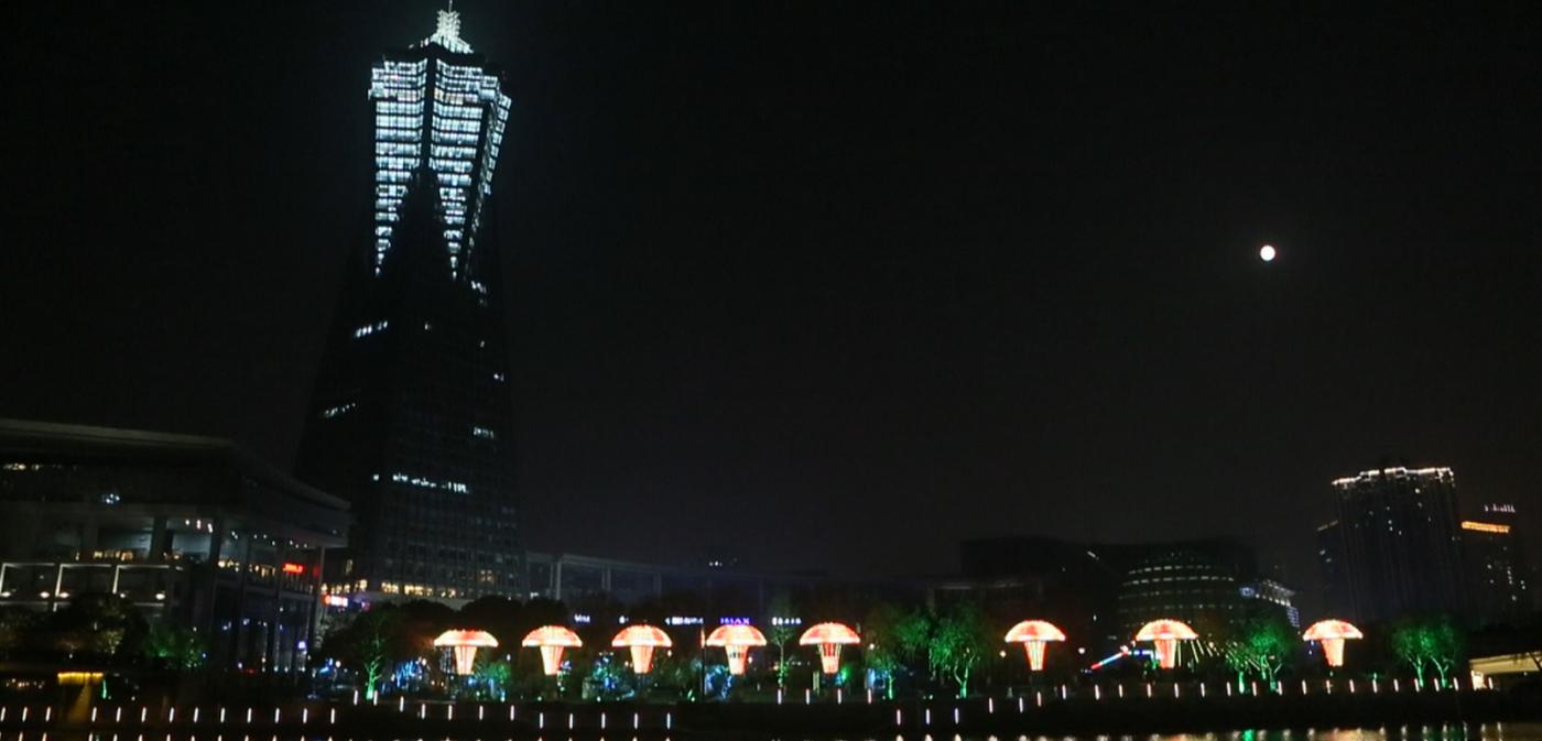 杭州大运河两岸的景观带夜景_图1-1
