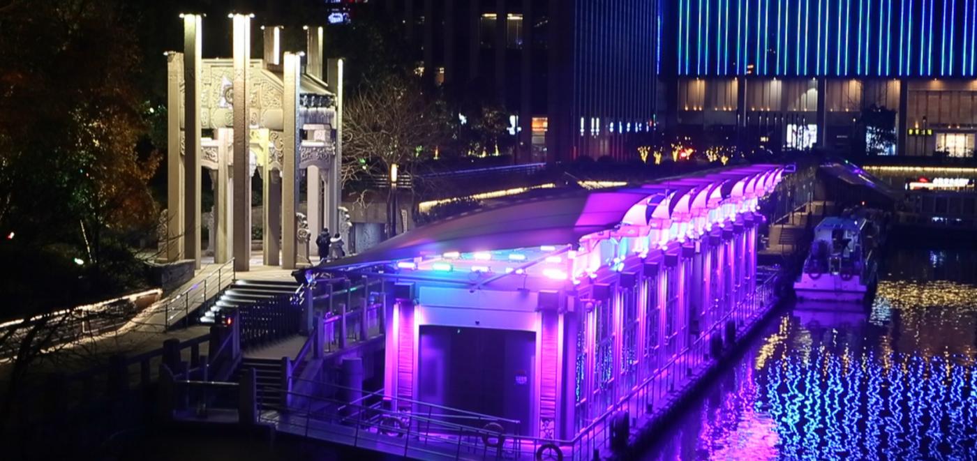 杭州大运河两岸的景观带夜景_图1-4