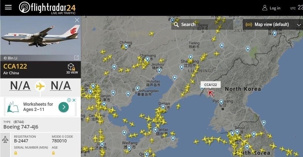 金正恩已搭乘中国领导人专机的备用机 编号 B-2447 的波音747,从平壤起飞前往新加坡。 ..._图1-2