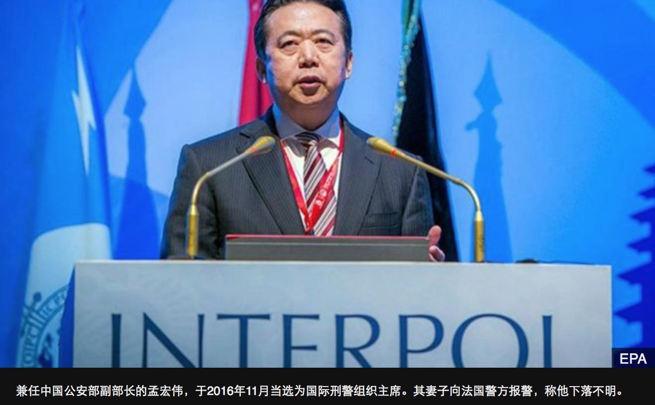 国际刑警主席孟宏伟失联:妻在法报案_图1-1