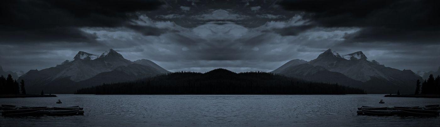 加拿大马林湖(Maligne Lake),云层中的一束光_图1-14