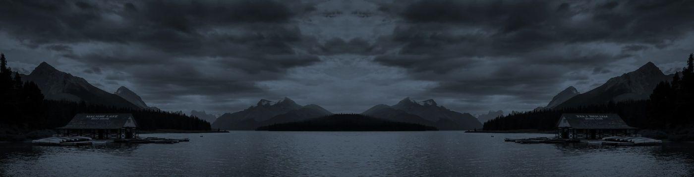 加拿大马林湖(Maligne Lake),云层中的一束光_图1-15