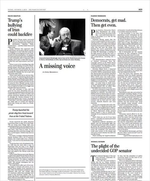 """高娓娓:美国媒体对沙特记者遇害案的反应,华盛顿邮报刊登白页标为""""消失的声音"""" ..._图1-3"""
