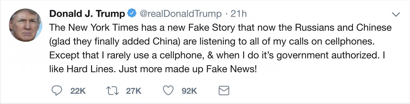"""特朗普每天使用哪一部手机发""""推特""""?_图1-2"""