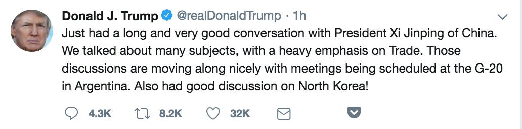特朗普宣布将和习近平直接谈判贸易_图1-1