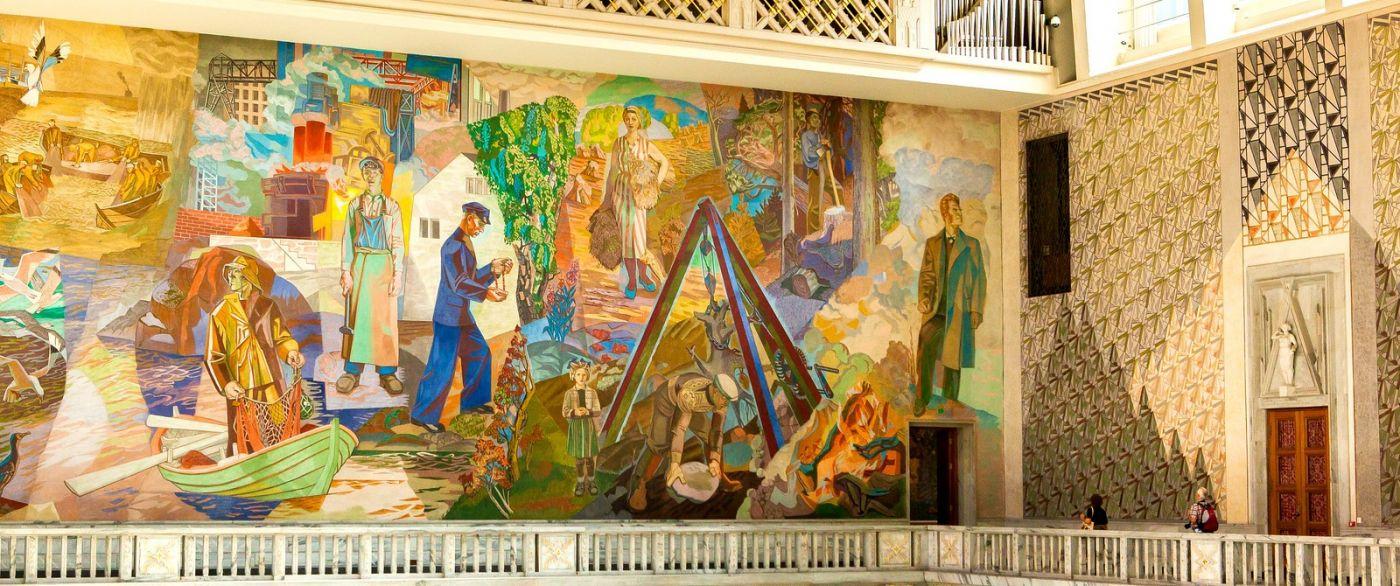 挪威奥塞罗市政厅,四周的人文壁画_图1-4