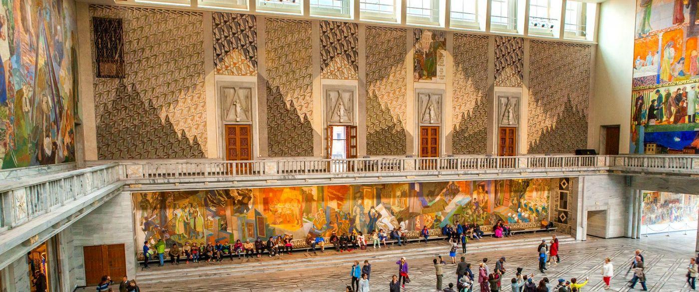 挪威奥塞罗市政厅,四周的人文壁画_图1-10