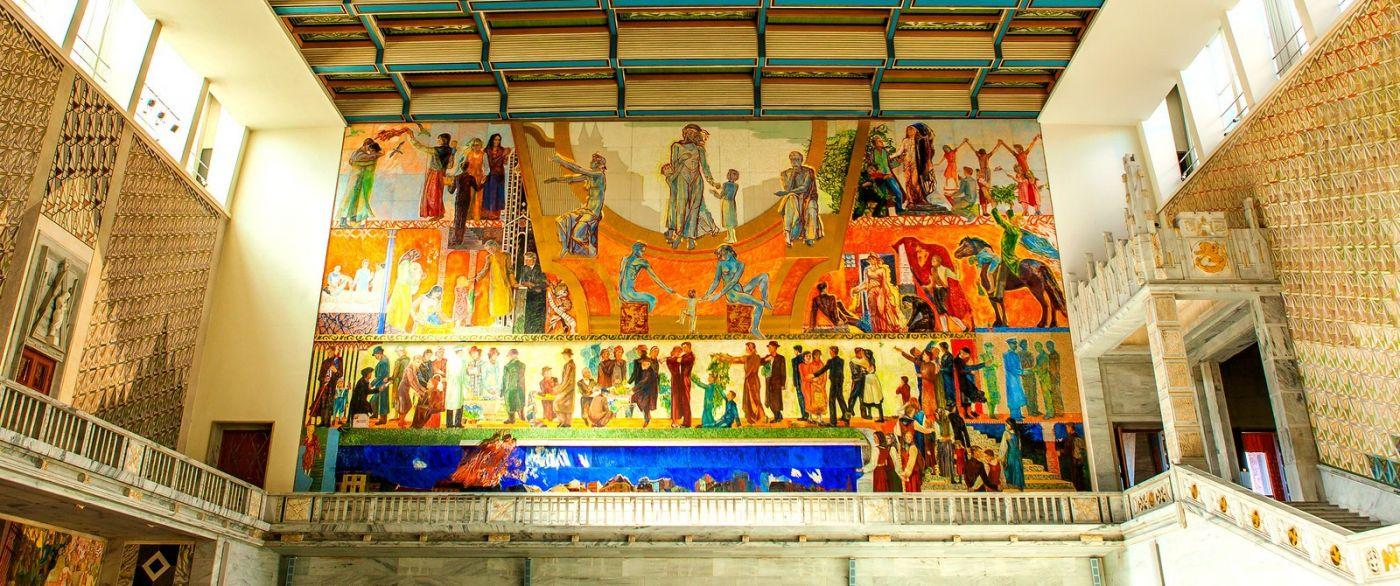 挪威奥塞罗市政厅,四周的人文壁画_图1-16