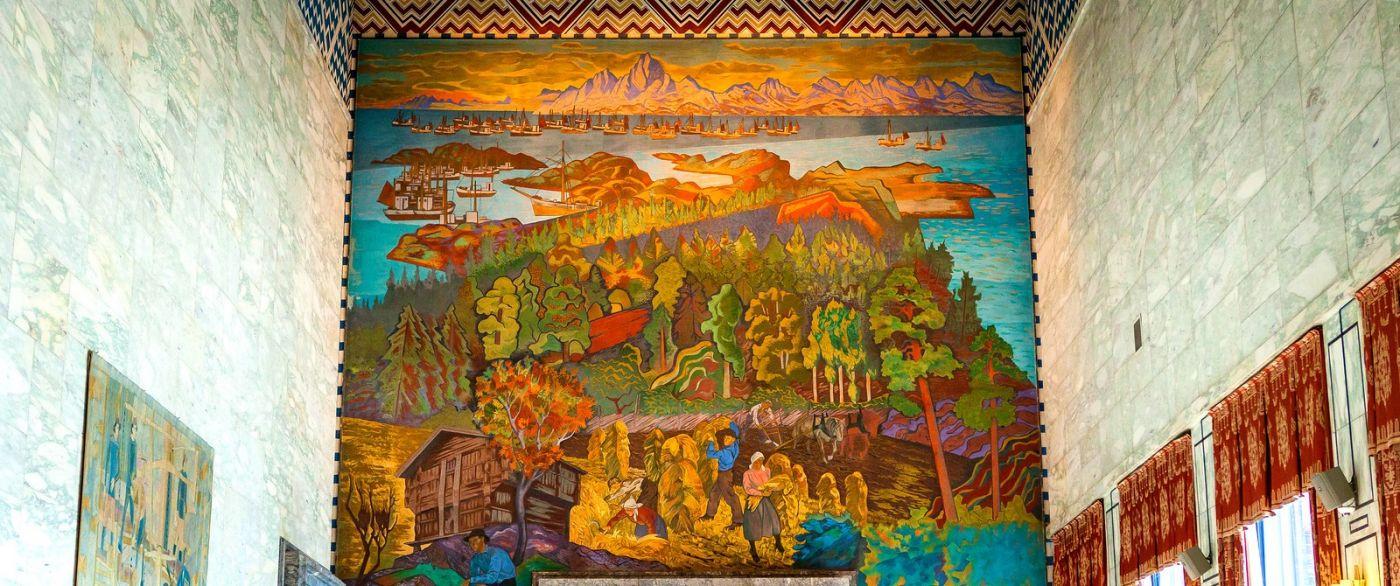 挪威奥塞罗市政厅,四周的人文壁画_图1-18