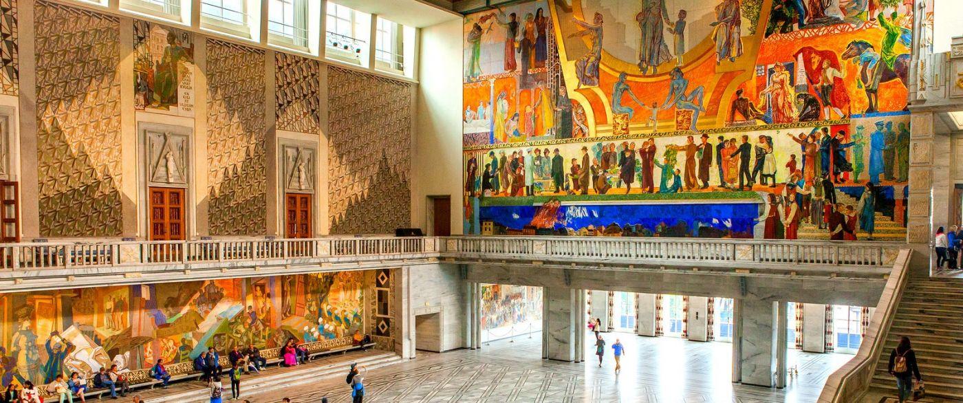 挪威奥塞罗市政厅,四周的人文壁画_图1-17