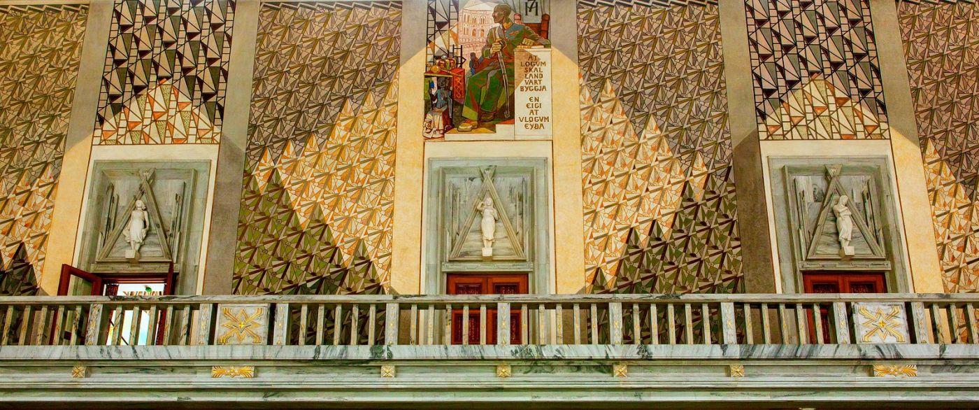 挪威奥塞罗市政厅,四周的人文壁画_图1-21