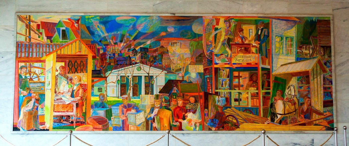 挪威奥塞罗市政厅,四周的人文壁画_图1-24