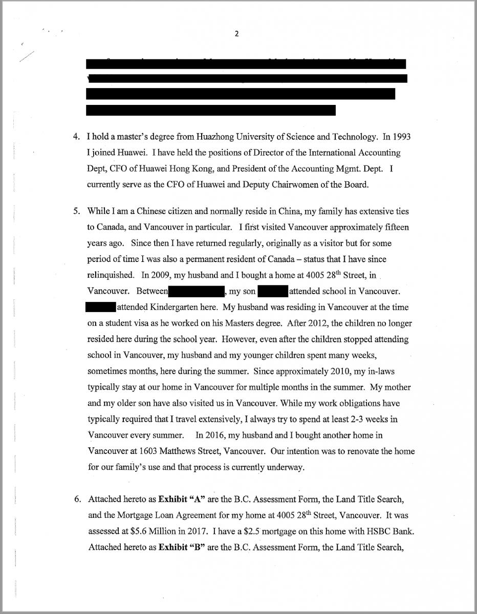 孟晚舟宣誓证词确认自己是中国公民_图1-2
